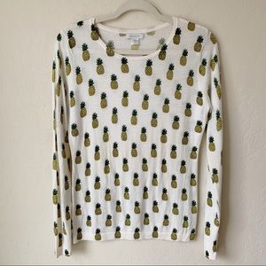 Garnet Hill Pineapple Print Merino Wool Sweater
